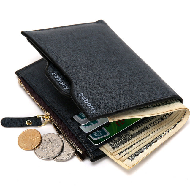 2019 Leather Wallets for Men Coin Pocket Wallet ID Credit Card Holder Purse Zipper Wallet Men with Coin Bag Billetera Hombre