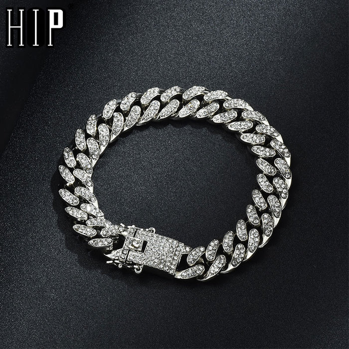 Hip Hop Bling Iced Out Miami Cuban Link Chain Full AAA Crystal Pave Men's Bracelet Gold Silver Color Bracelets for Men Jewelry
