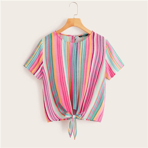 SHEIN Colorful Striped Knotted Front Top Womens Tops and Blouses 2019 Casual Button Short Sleeve Summer Blouses