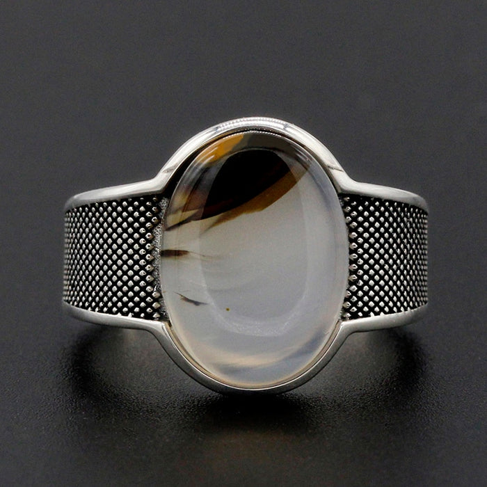 Men's Ring 925 Silver Oval Special Stone Vintage Personalize Finger Ring for Men Fashion Jewelry