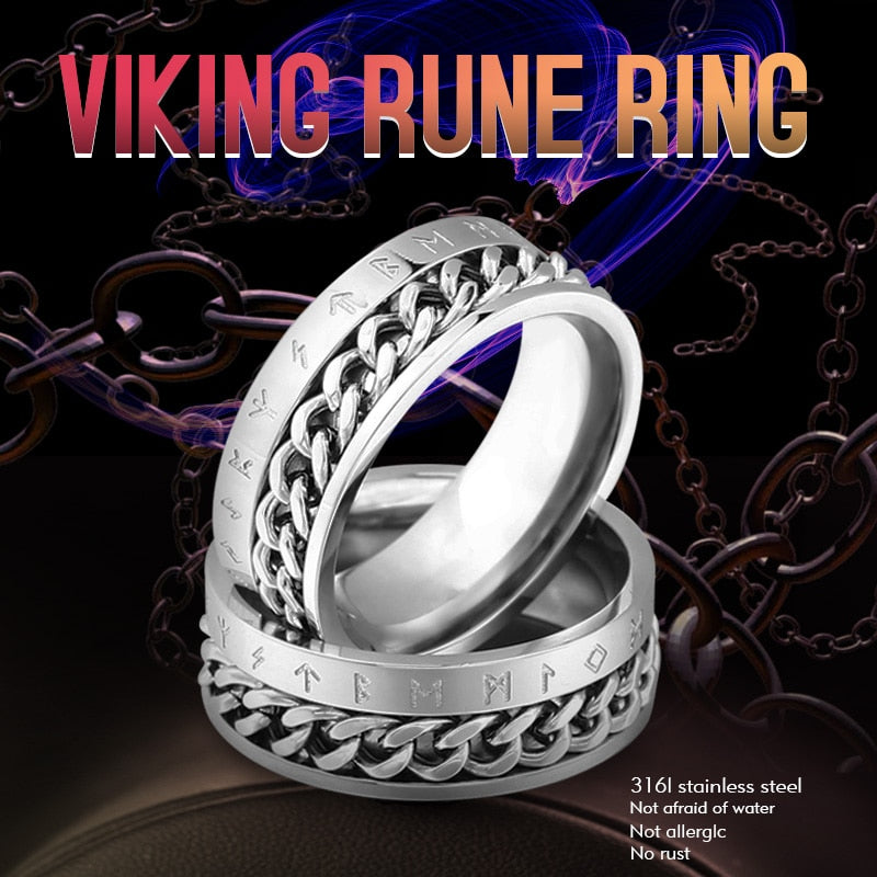 Beier 316L Stainless Steel Fashion Style nose viking rotatable chain and rune Ring for men jewelry Odin Amulet Vintage  LR-R130