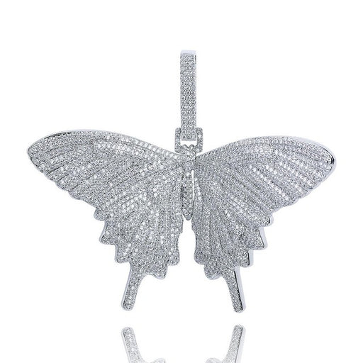 New Custom Full Iced Out Butterfly Wings Pendant Necklace With 12mm Cuban Chain Gold Silver Color Hip Hop Charm Chain Jewelry