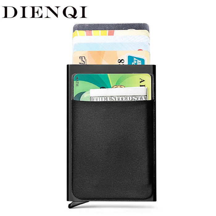 DIENQI Rfid Smart Wallet Credit Card Holder Metal Thin Slim Men Wallets Pass secret pop up minimalist wallet small black purse