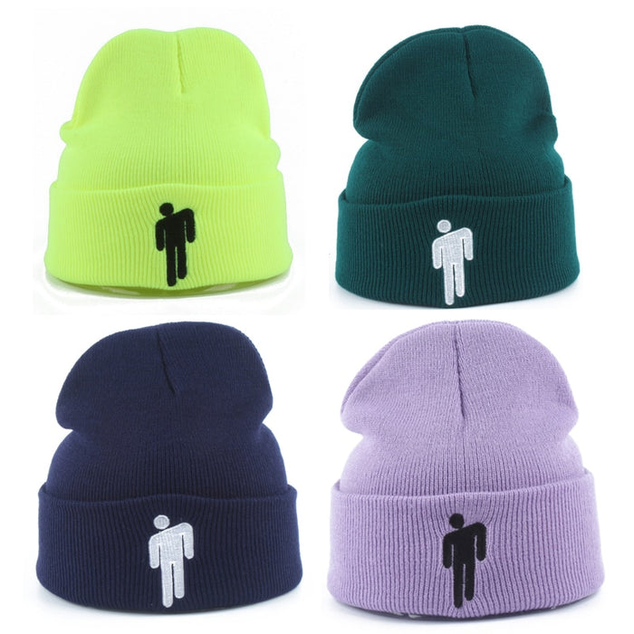 New Fashion Billie Eilish Beanie Hat Embroidery gorro Women Men Thick Knitted Winter Cap Harajuku Hip Hop Skullies Beanies