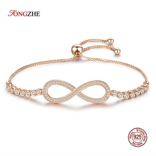 TONGZHE Endless Mens Bracelets 2019 Sterling Silver 925 CZ Rose Gold Charm Infinity Tennis Bracelets for Women Jewelry Pulsera
