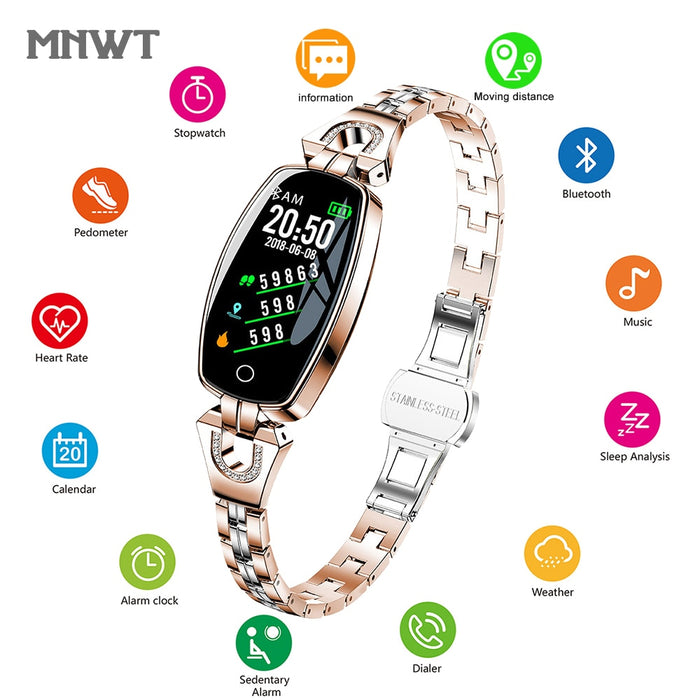 MNWT Brand Women Wristwatches Luxury H8 Women smart Band Fitness Bracelet Tracker Waterproof Smart Watch For IOS Android