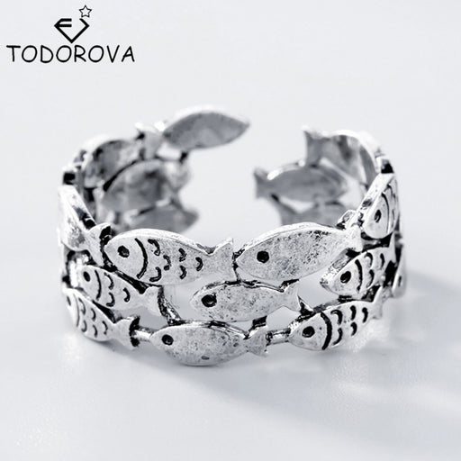Todorova     Fish Rings for Women Adjustable Wedding Ring Fashion jewelry Girls Gift