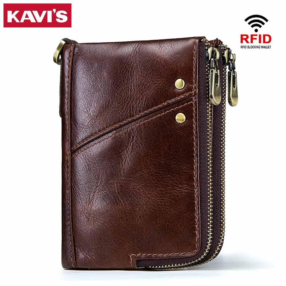 KAVIS Rfid 100% Genuine Crazy Horse Leather Wallet Men Small Walet Portomonee Male Cuzdan Short Coin Purse PORTFOLIO Card Holder