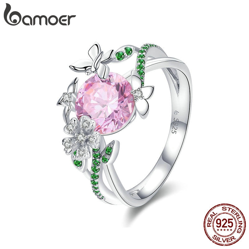 BAMOER 925 Sterling Silver Secret Garden Flower Butterfly Finger Rings for Women Pink CZ Wedding Engagement Ring Jewelry BSR010