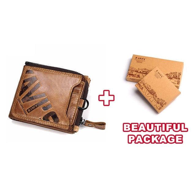 KAVIS Crazy Horse Genuine Leather Wallet Men Coin Purse Male Cuzdan Walet Portomonee PORTFOLIO  Perse Small Pocket money bag