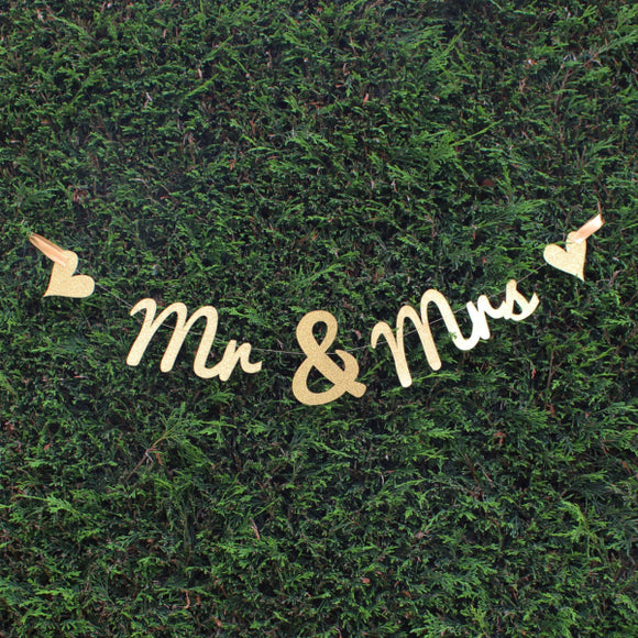 Gold Glitter 'Mr & Mrs' Bunting, Bunting - Big Day Boutique