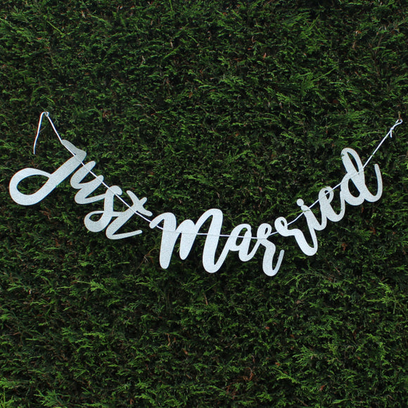 Silver Glitter 'Just Married' Bunting, Banners - Big Day Boutique