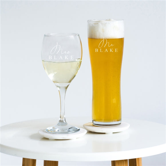 'Mr & Mrs' Pint & Wine Glass Set,Glassware - Big Day Boutique-UK Wedding Decor