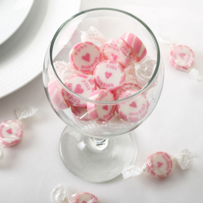 Pink 'Just Married' Rock Sweets, Favours - Big Day Boutique