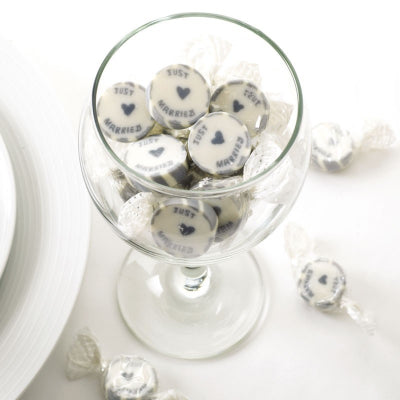 Silver 'Just Married' Rock Sweets, Favours - Big Day Boutique