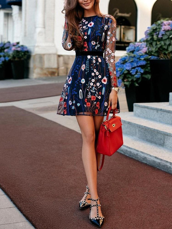 Floral Embroidery Casual Skater Dress multi s