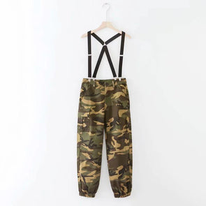 Spaghetti Strap  Backless  Sleeveless Jumpsuits Camouflage m