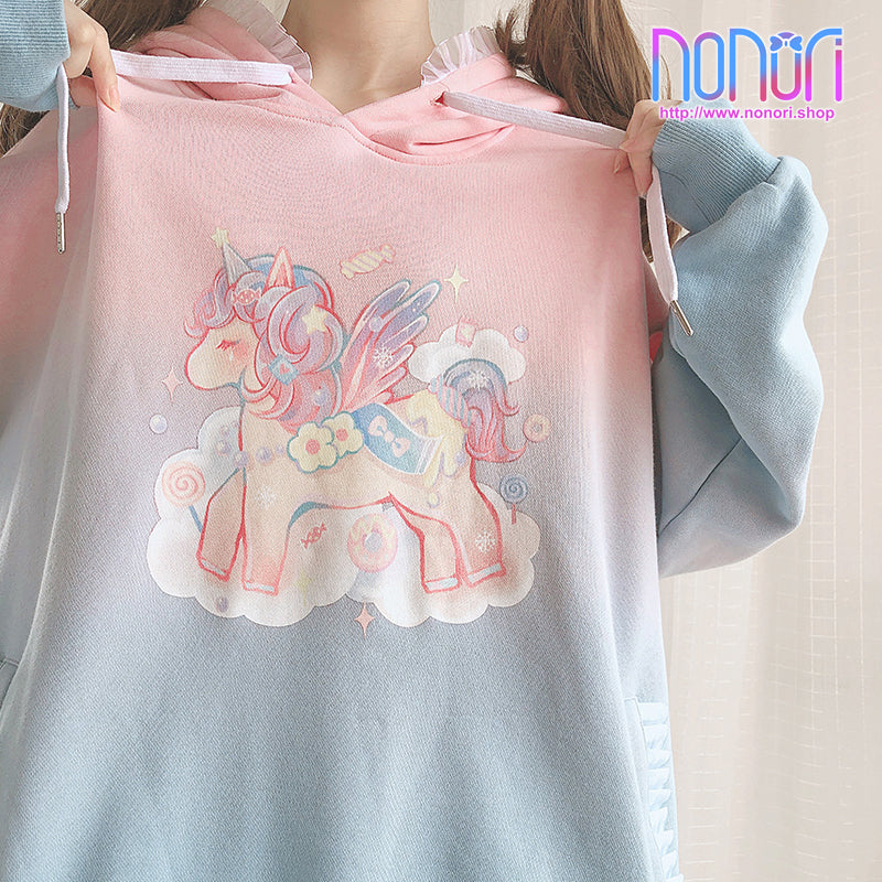 ドリームユニコーン虹パーカー/Robot Unicorn Attack rainbow shirt