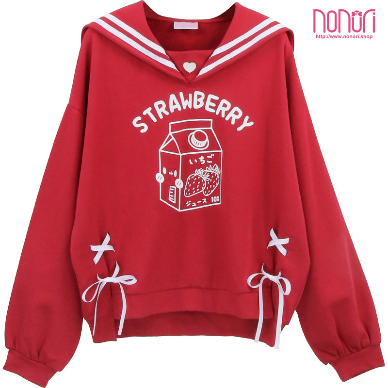 いちご牛乳セーラーパーカー/ Strawberry Milk Sailor pullover shirt