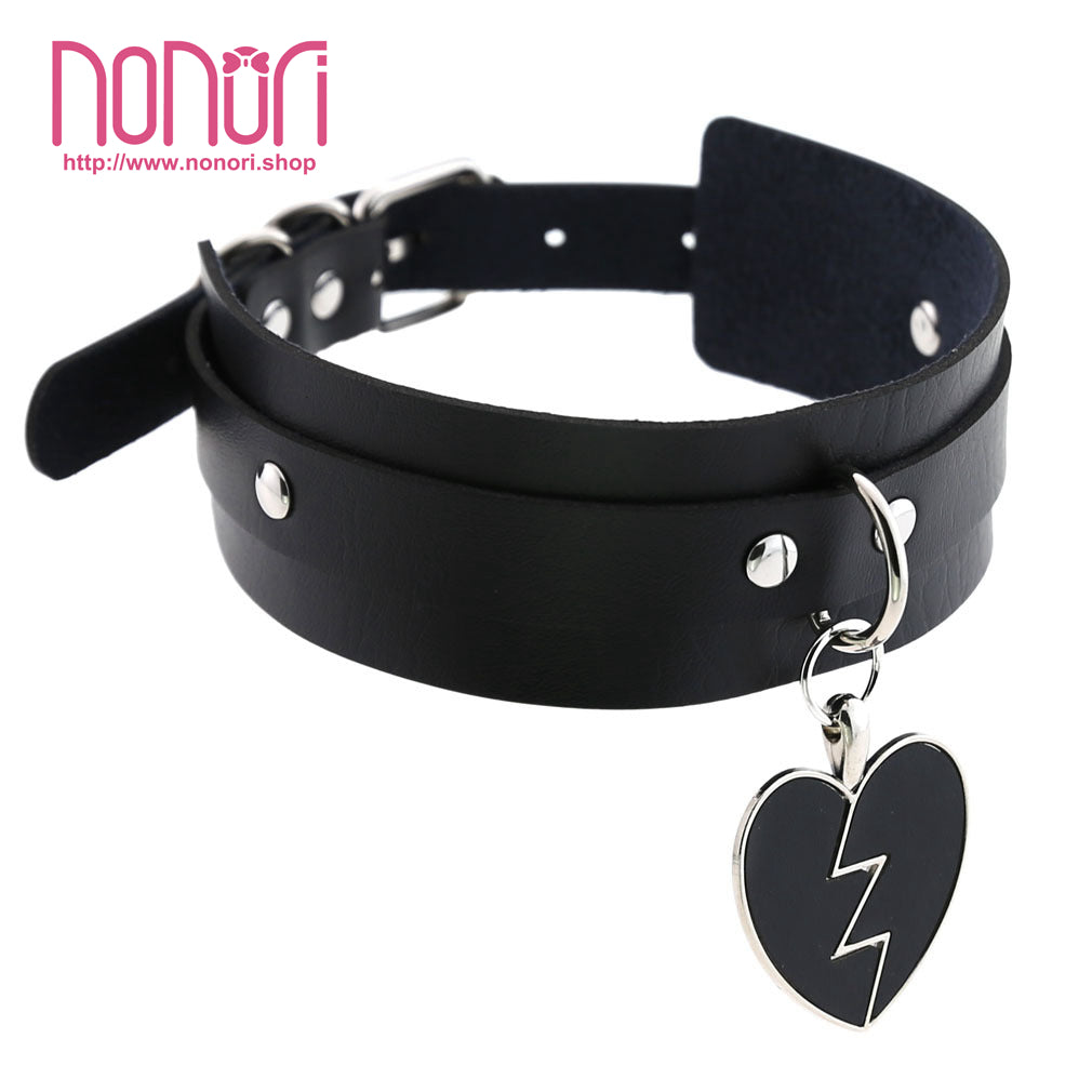 PUハートのペンダント首輪チョーカー13色/PU Heart-broken Pendant Neck Choker 13colors