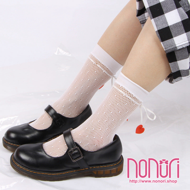 ハートリボン網靴下/Heart Ribbon Short Stockings