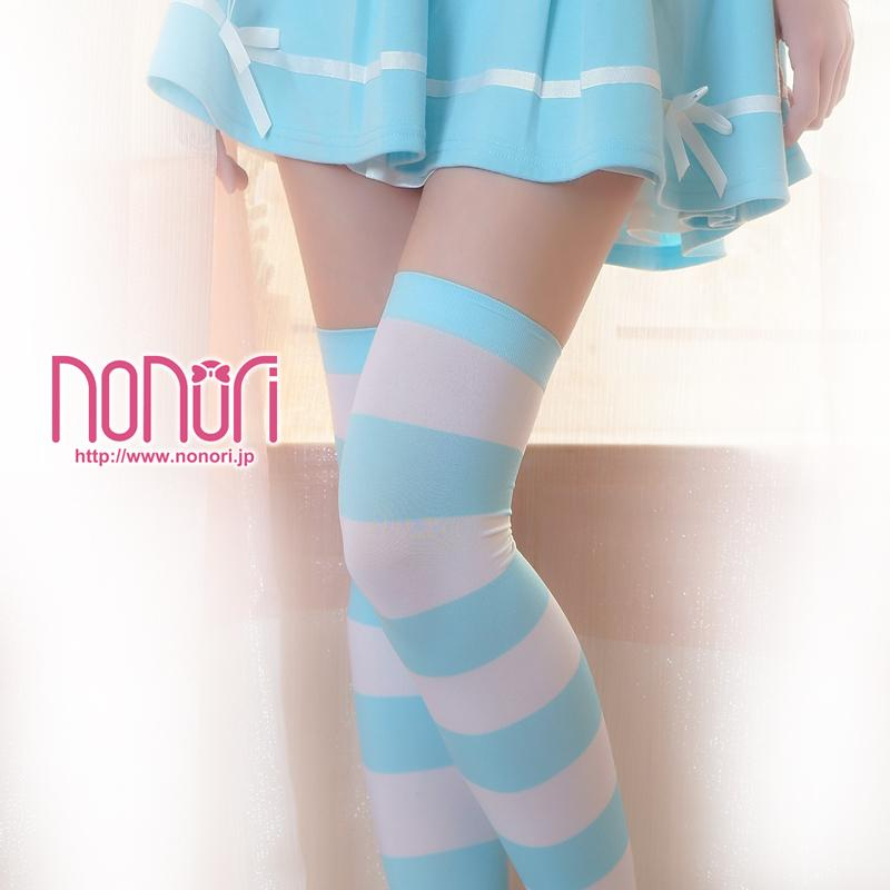 [NONORI]縞藍白ストッキング Blue and white Stripe  Socks - NONORI E-Commerce