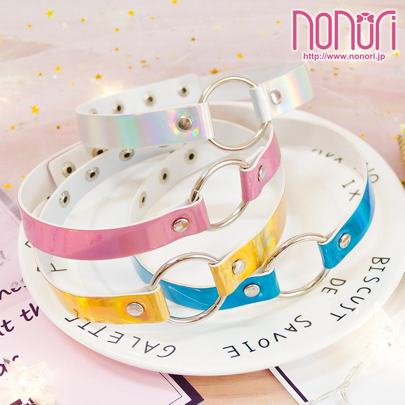 レーザー色円形首輪チョーカー4色/Laser color circular Neck Choker - NONORI E-Commerce
