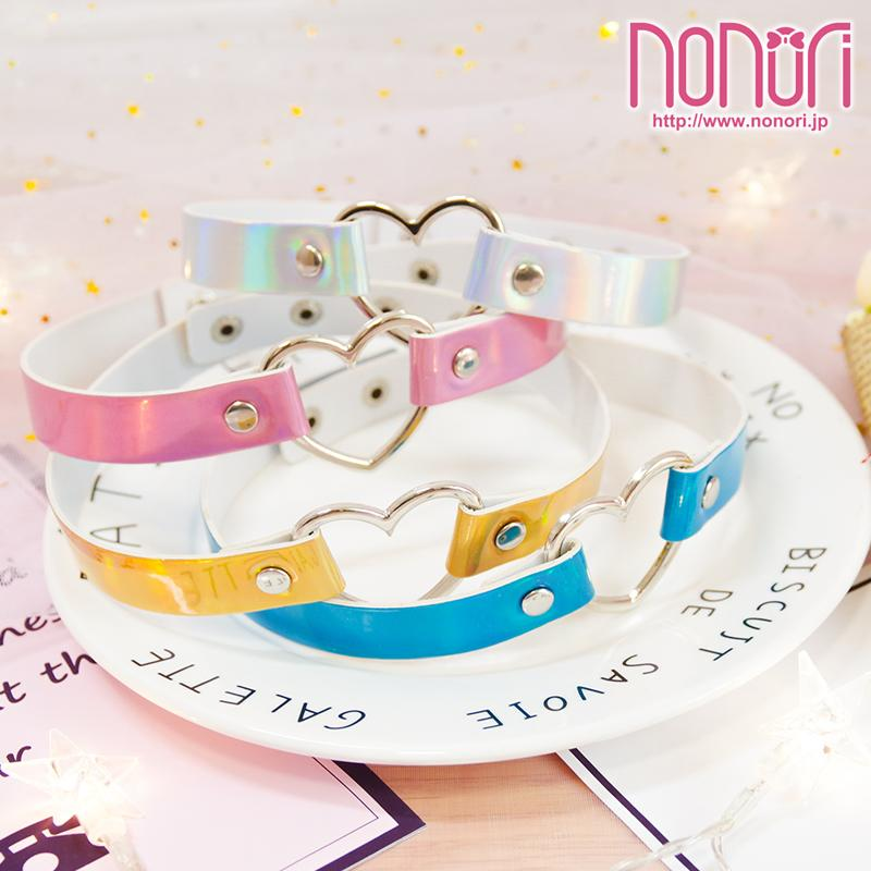 レーザー色ハート首輪チョーカー4色/Laser color heart Collar Neck Choker - NONORI E-Commerce