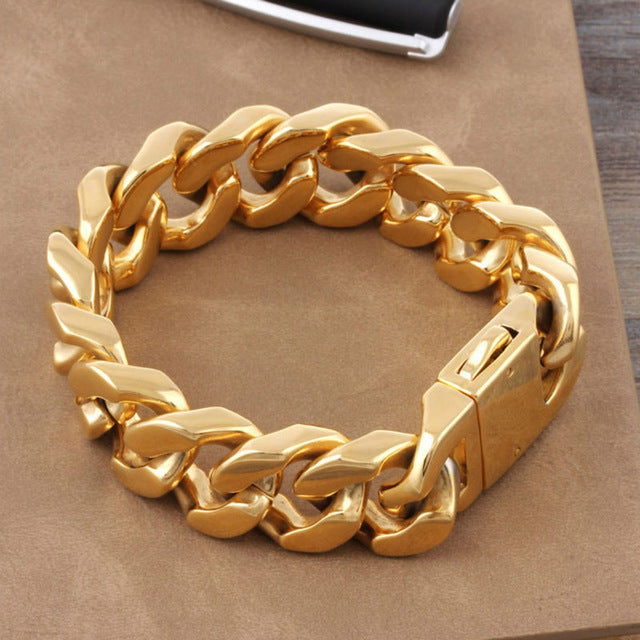 shiny from womens big new bracelet curb item jewelry yellow mens filled chain in gold fashion gift link hammered bracelets