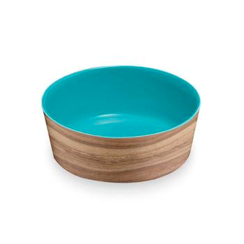Natural Acacia Melamine Dog Bowl