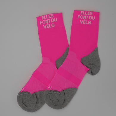 Chaussette cycliste rose fluo #EFDV