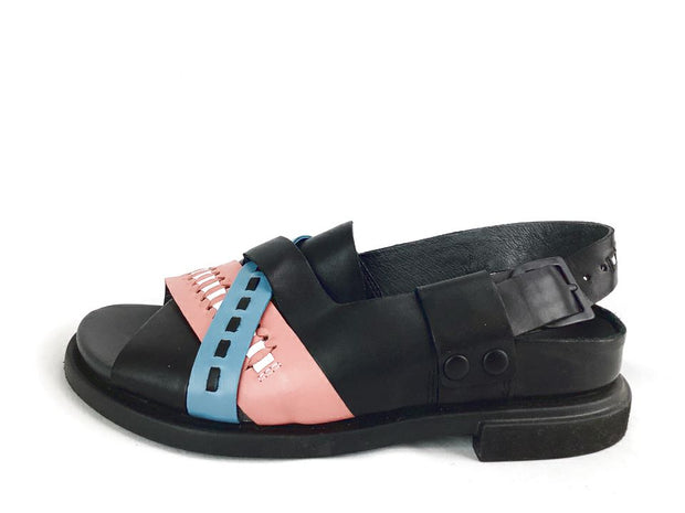 Camper Twins Mismatch Womens 36 6 Multi-Color Leather Slingback Flat Sandals