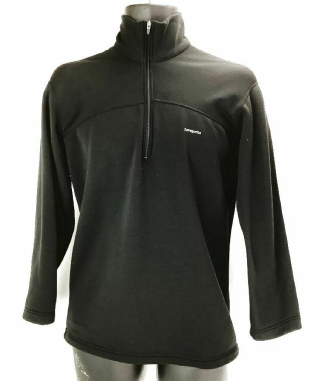Patagonia Capilene Mens Small Black 1/4 Zip Fleece Long Sleeve Pullover Top