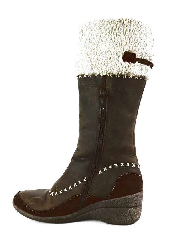Miz Mooz Olympia Womens Size 6.5-7 37 Brown Leather Fur Winter Boots