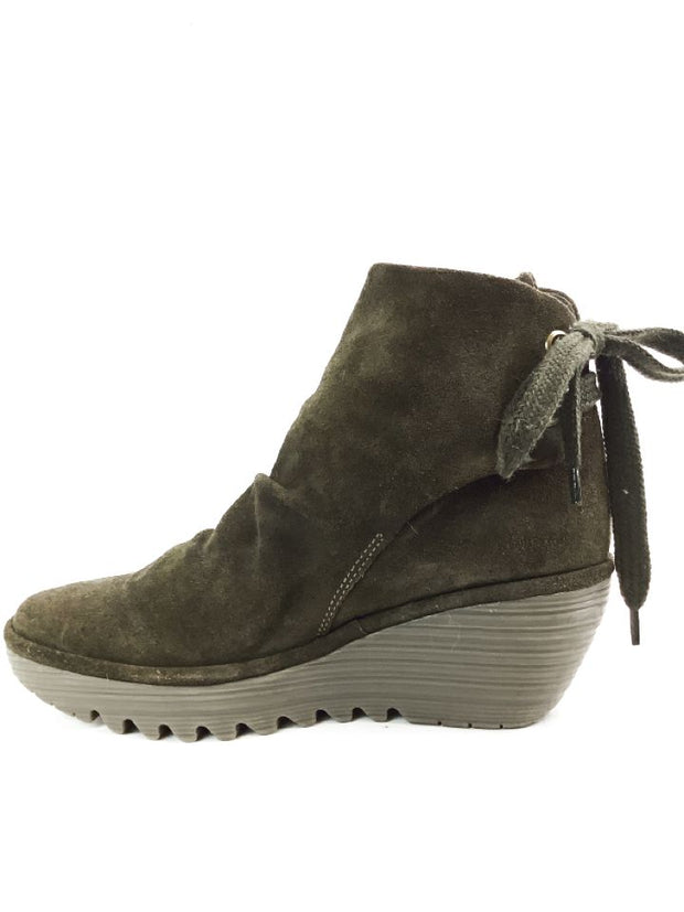 Fly London Yama Womens Size 9-9.5 40 Brown Suede Tie-Back Wedge Boots
