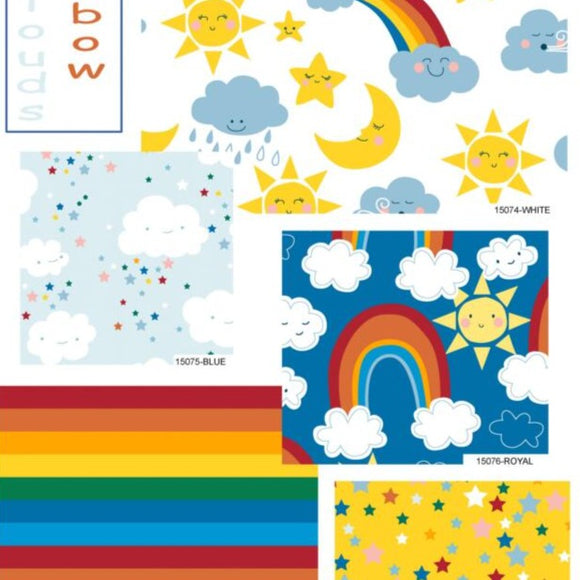 Happy Cloud and Rainbows Fat Quarter Bundle