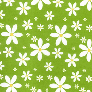 Green Daisy Printed Polycotton