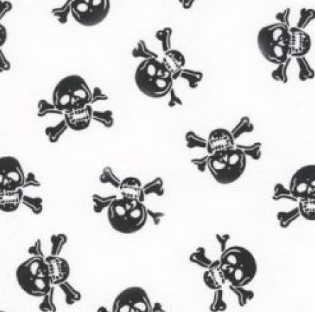 Black on White Skull Printed Polycotton