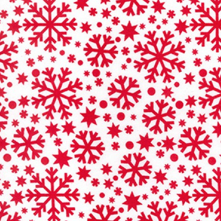 Red on White Snowflake - Christmas Printed Polycotton