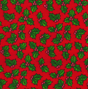 Red Holly Christmas Printed Polycotton