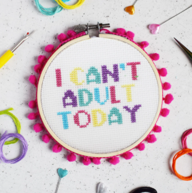 The Make Arcade 'I Can't Adult Today' Midi Cross Stitch Kit