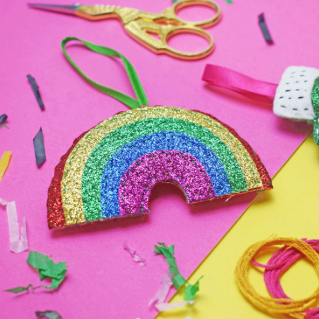 The Make Arcade 'Glitter Rainbow' Felt Sewing Kit