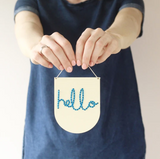 Cotton Clara 'Hello' Wooden Banner Embroidery Kit