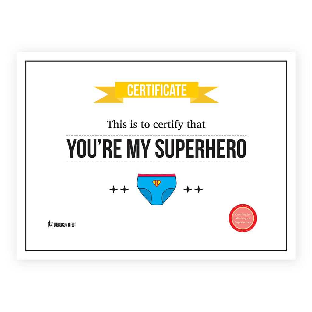 Superhero Certificate Greeting Card Bubblegum Effect
