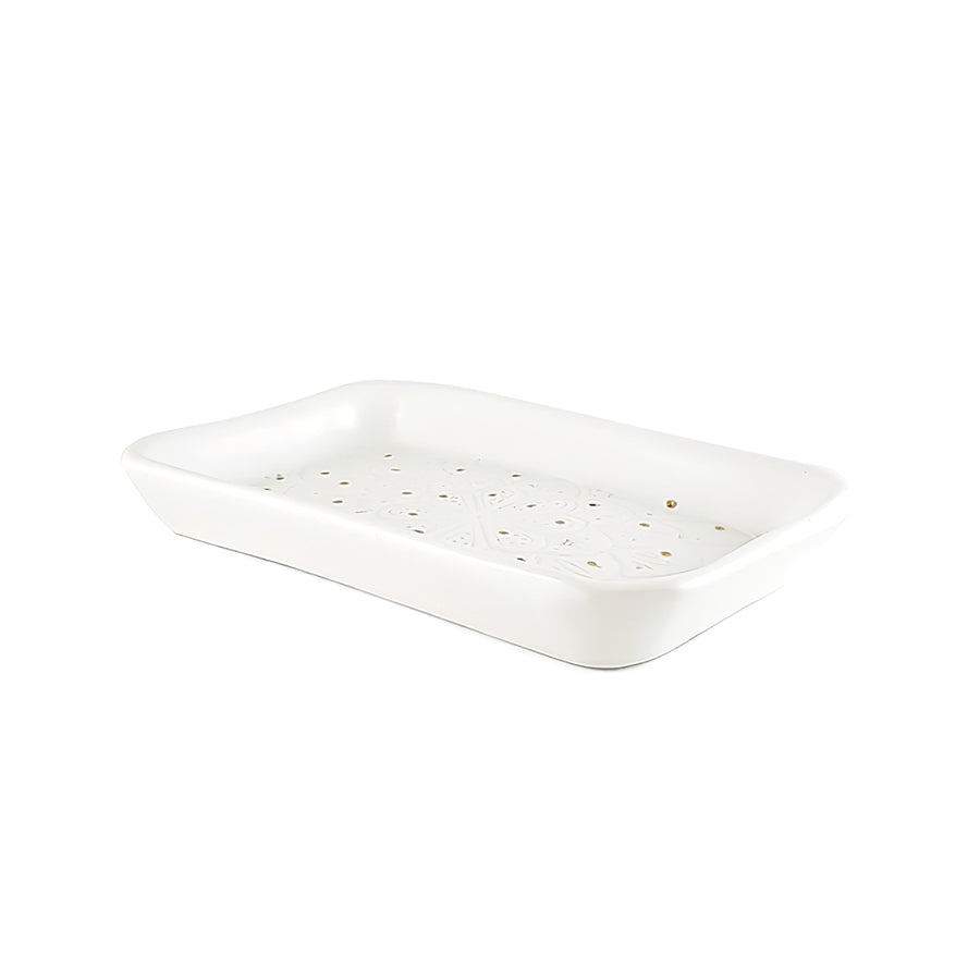 White + Gold Rectangular Ceramic Tray