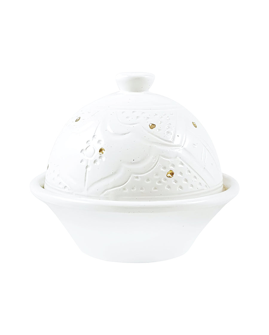 White + Gold Ceramic Sugar Bowl