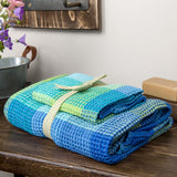 Linen-Cotton Towel / Sheet - Various sizes - Blue - Checked