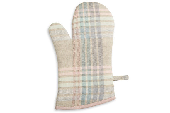 Linen Kitchen Glove in Grey With Multicolored Stripes