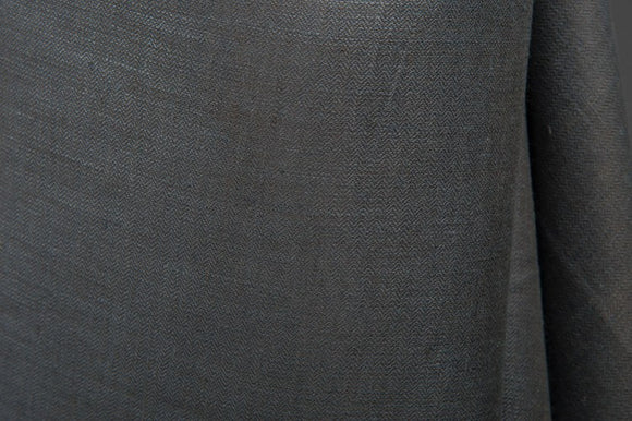 Linen Fabric With Graphite Gray Pattern