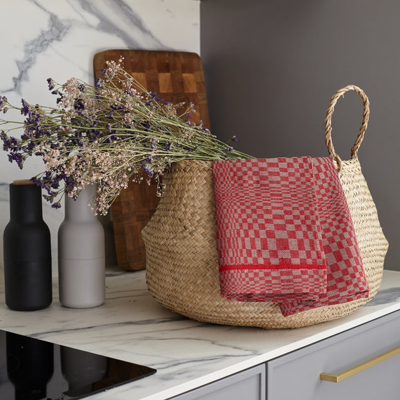 Linen Kitchen Towel - Red / Gray - Checked